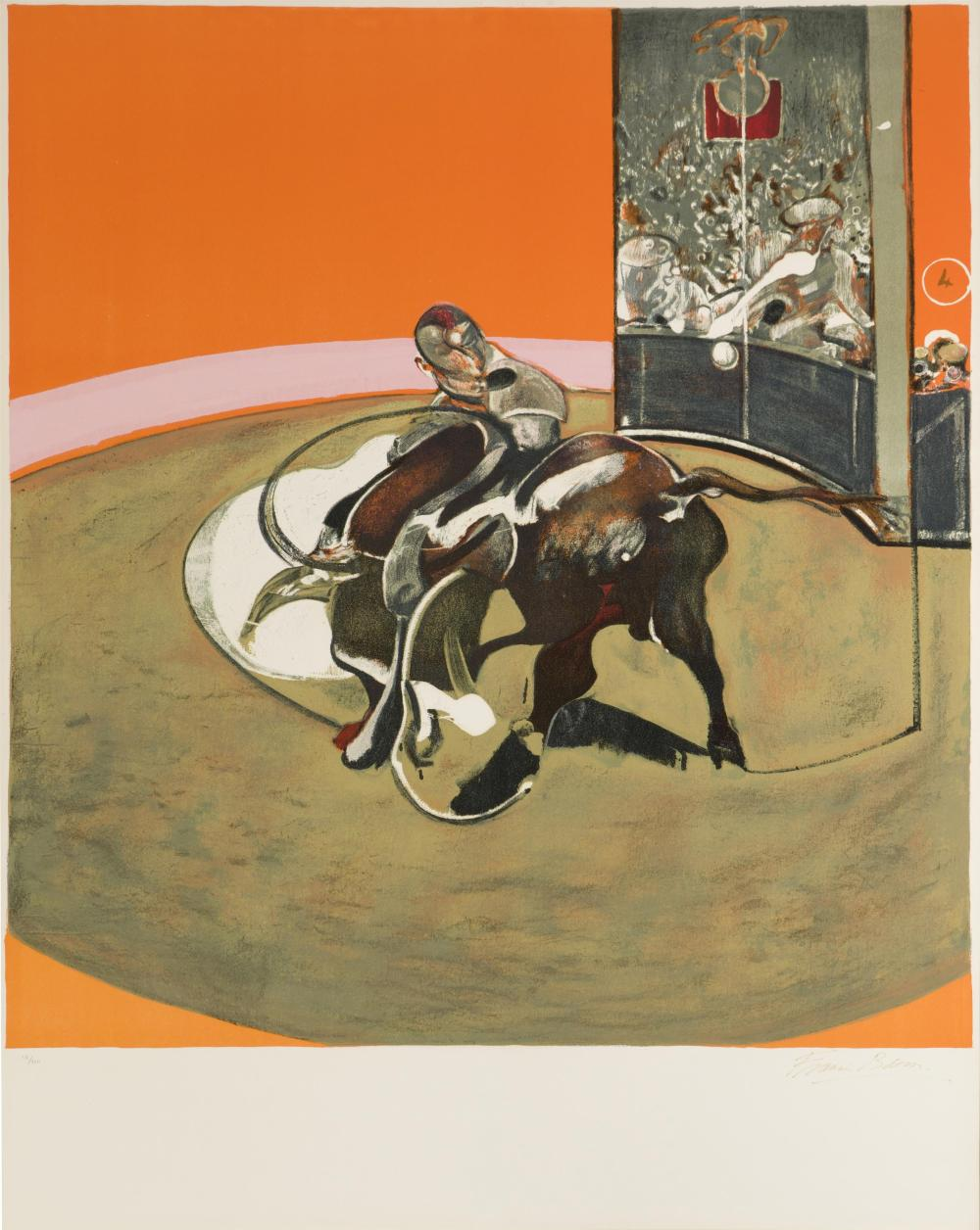 "Francis Bacon, (1909-1992 Irish/British), ""Etude pour une corrida"" (after ""Study for a Bullfight No. 1,"" 1969), 1971, Lithograph in col"