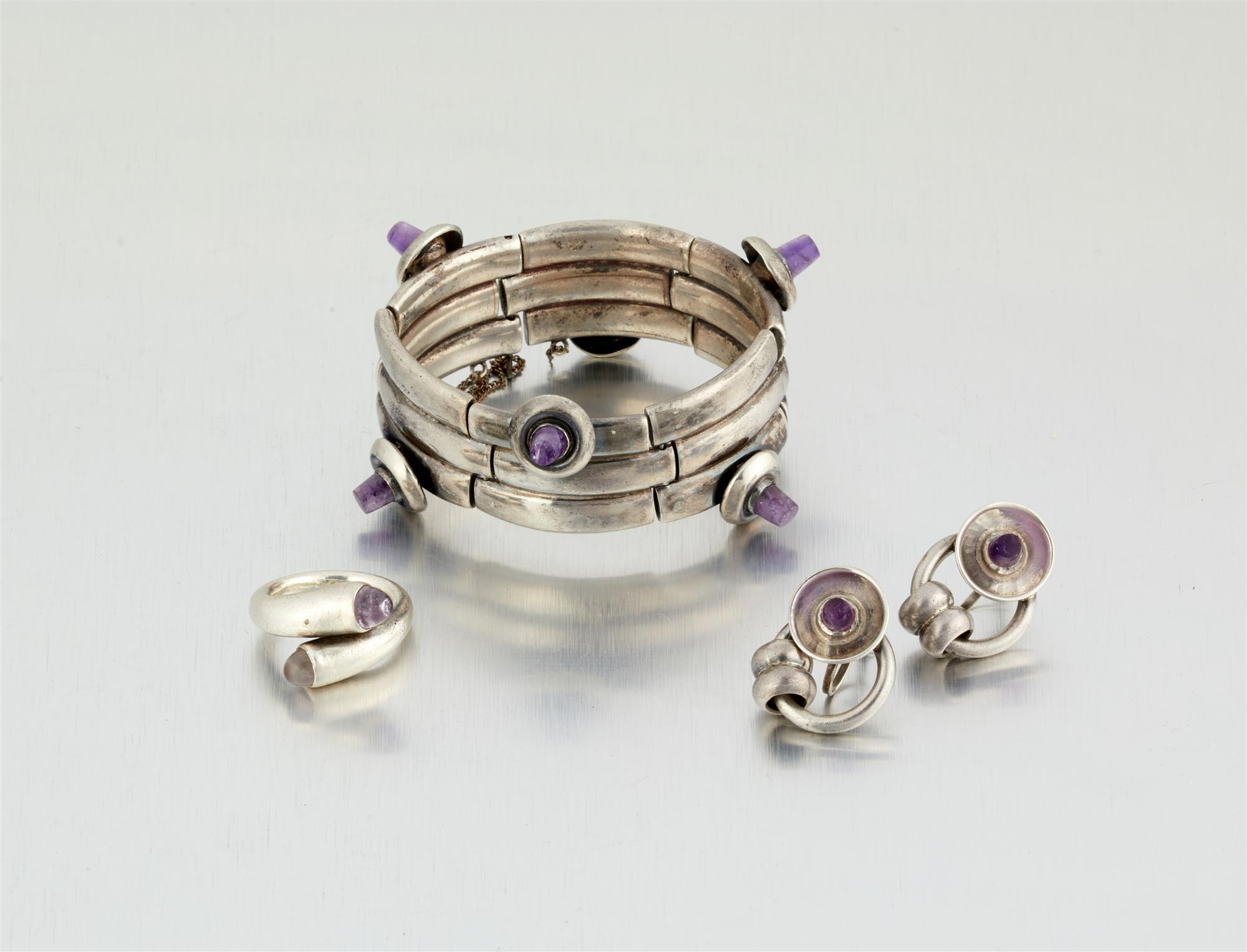 A group of William Spratling silver and amethyst jewelry