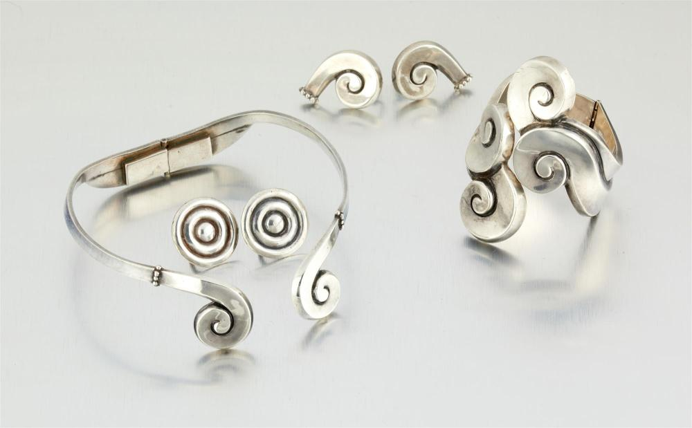 An assembled suite of Margot de Taxco silver jewelry