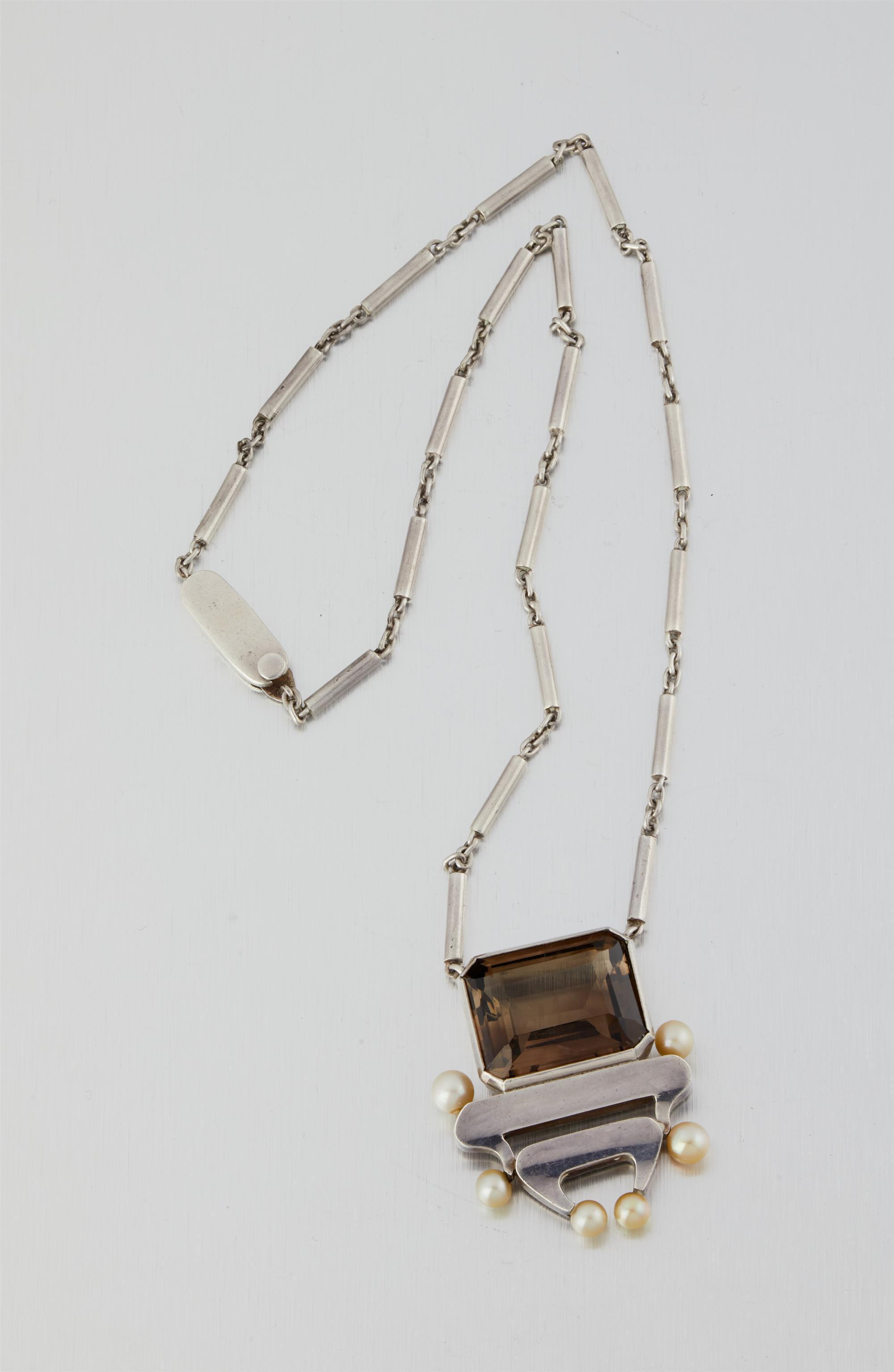 An Antonio Pineda/Los Castillo silver, smokey quartz and pearl necklace