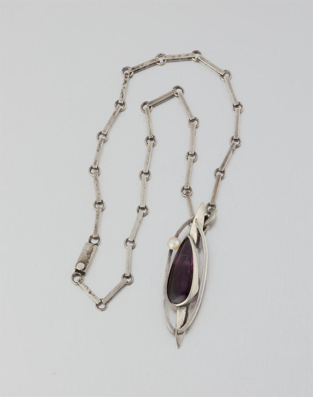 An Antonio Pineda silver, amethyst and pearl necklace