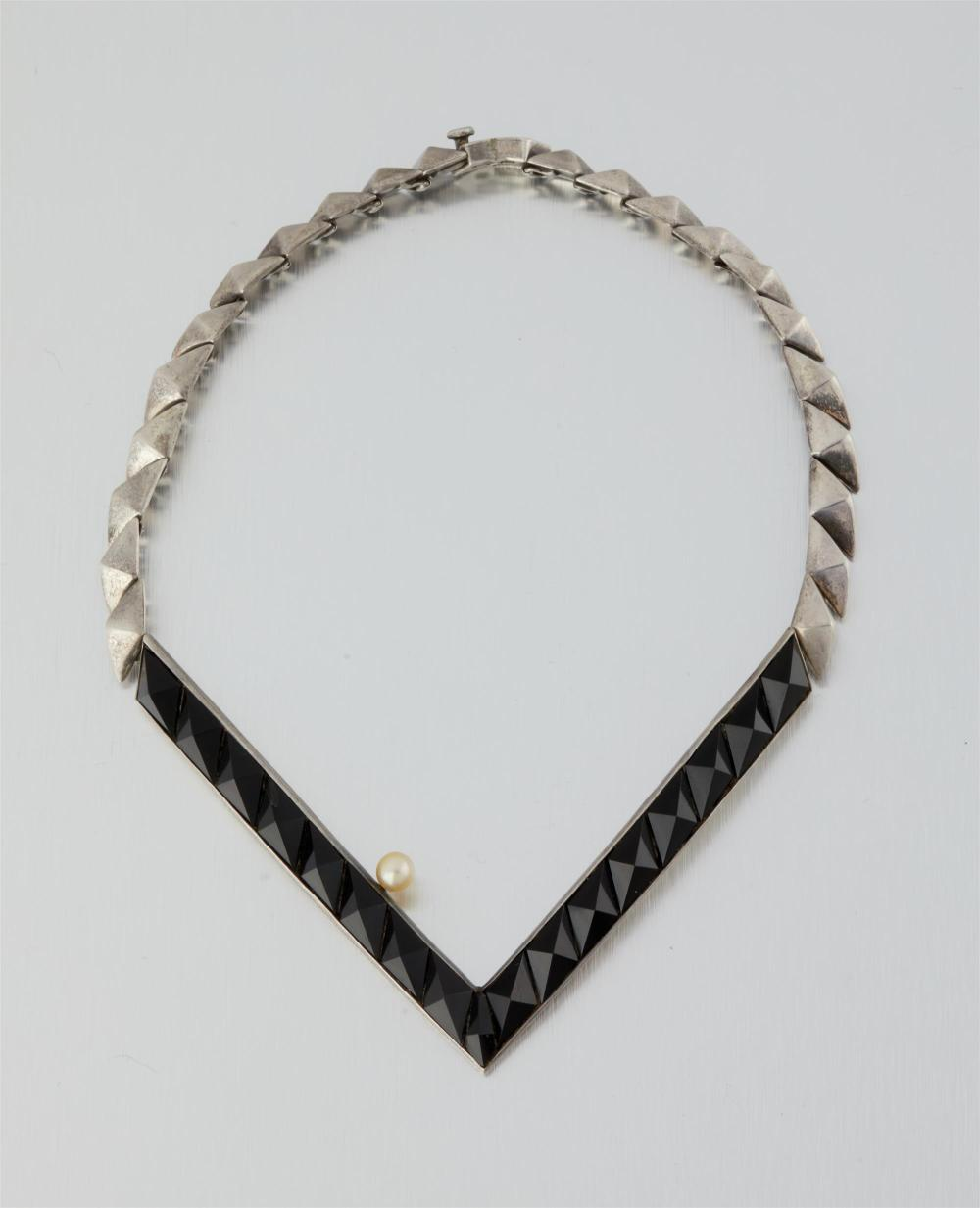 An Antonio Pineda silver, obsidian and pearl necklace