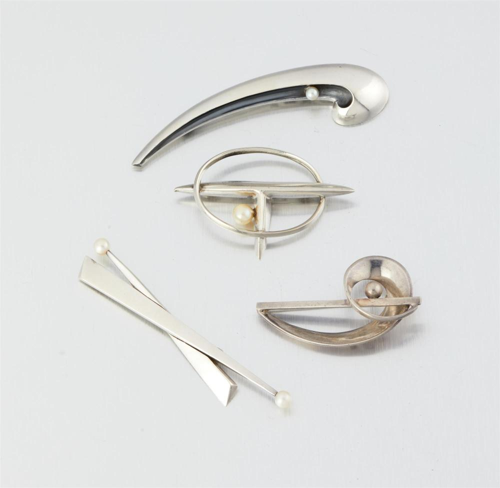 A group of Antonio Pineda silver and cultured pearl brooches