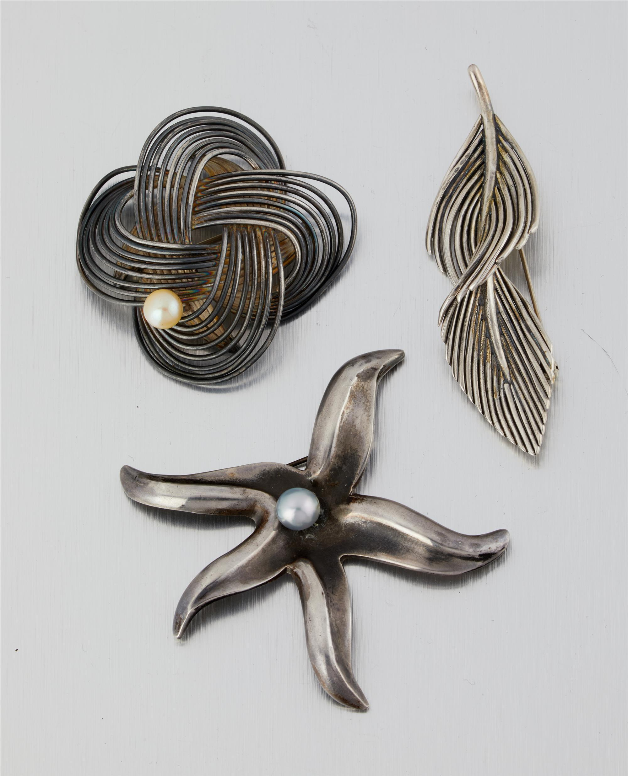 Three Antonio Pineda silver and pearl brooches
