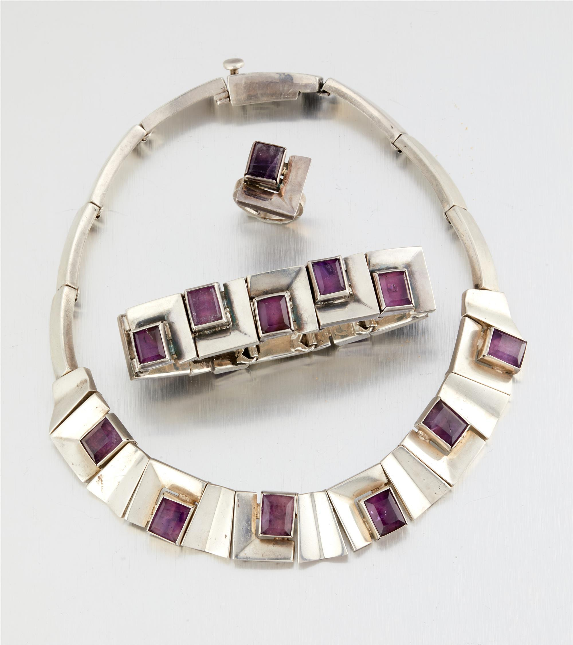 A suite of Antonio Pineda silver and amethyst jewelry