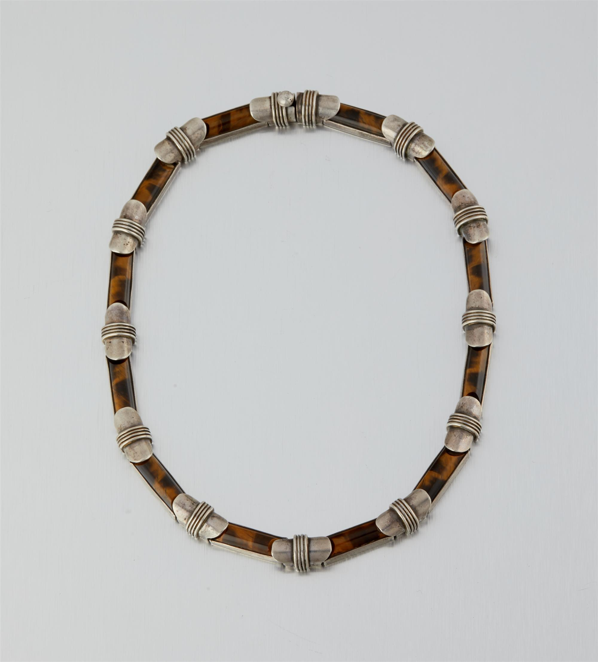 An Antonio Pineda silver and tiger's eye necklace