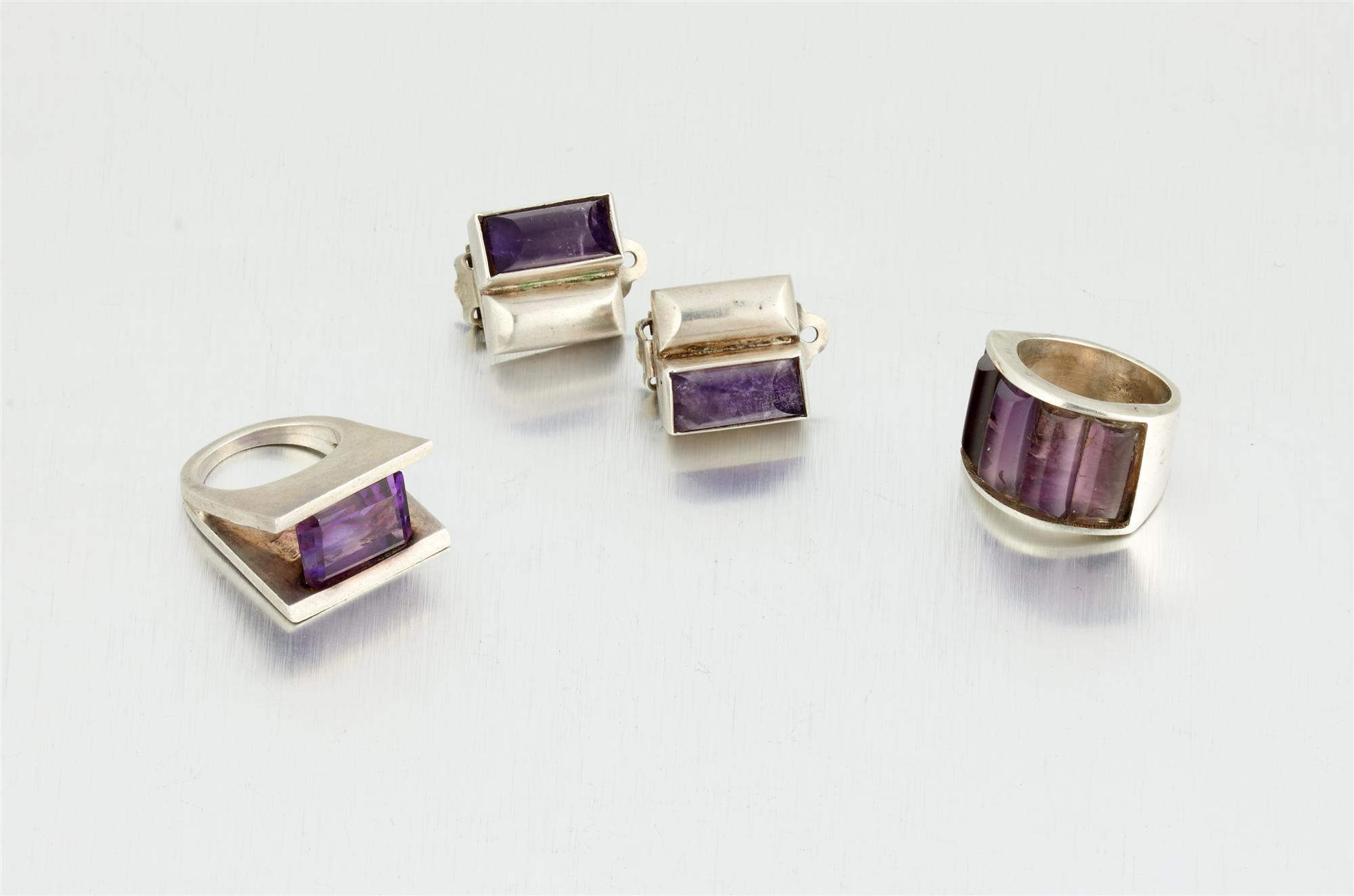 A group of Antonio Pineda silver and amethyst jewelry