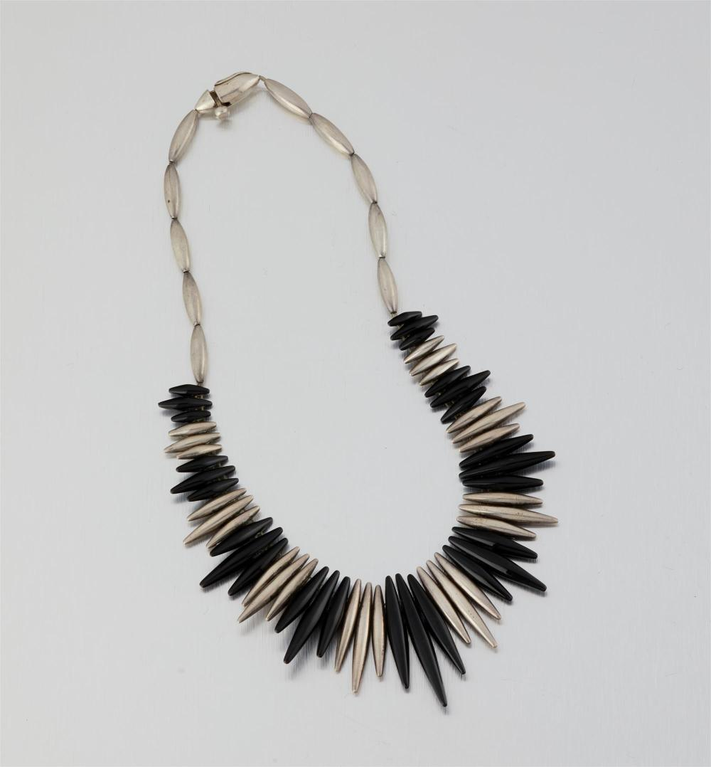 An Antonio Pineda silver and onyx necklace