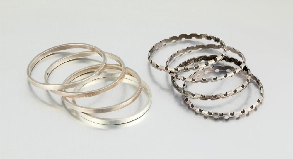 A group of Antonio Pineda silver bracelets