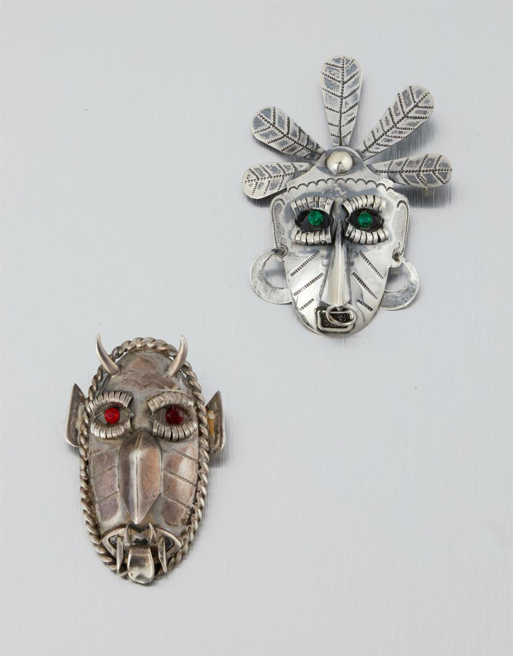Two Carmen Beckmann sterling silver brooches
