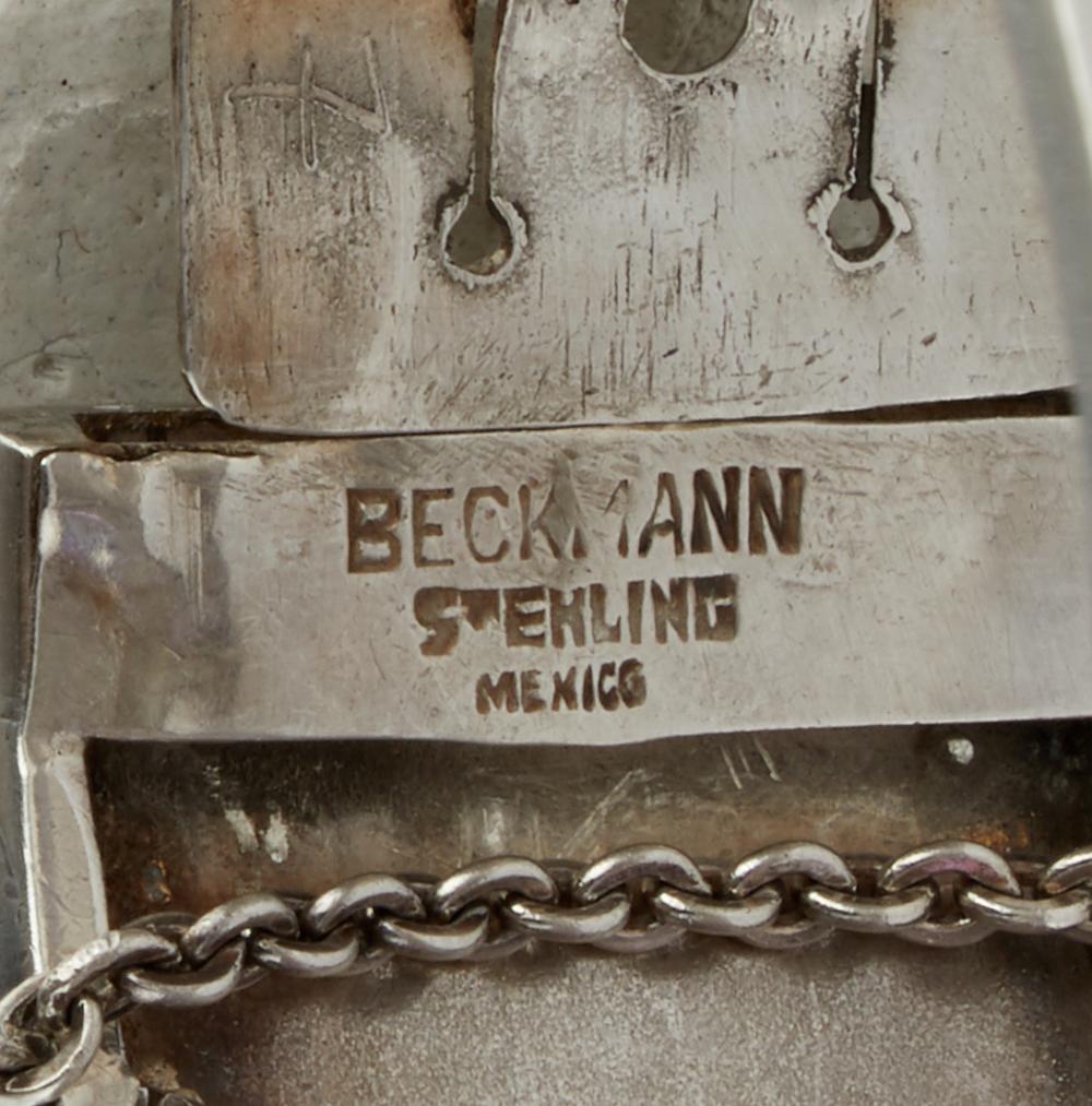 A Carmen Beckmann silver and amethyst bangle bracelet