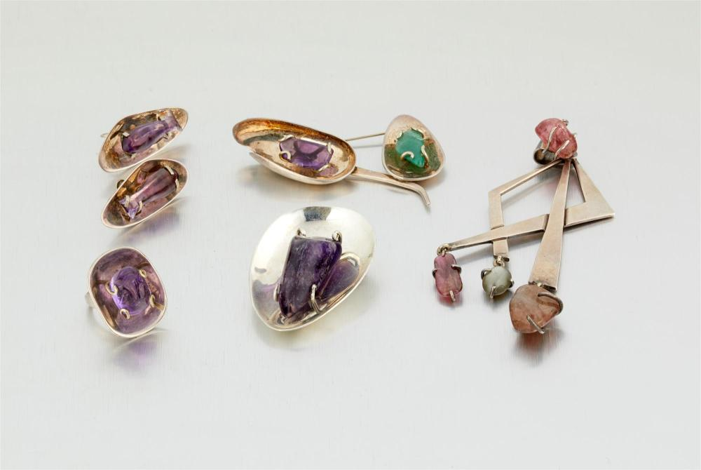 A group of Los Castillo gem-set jewelry