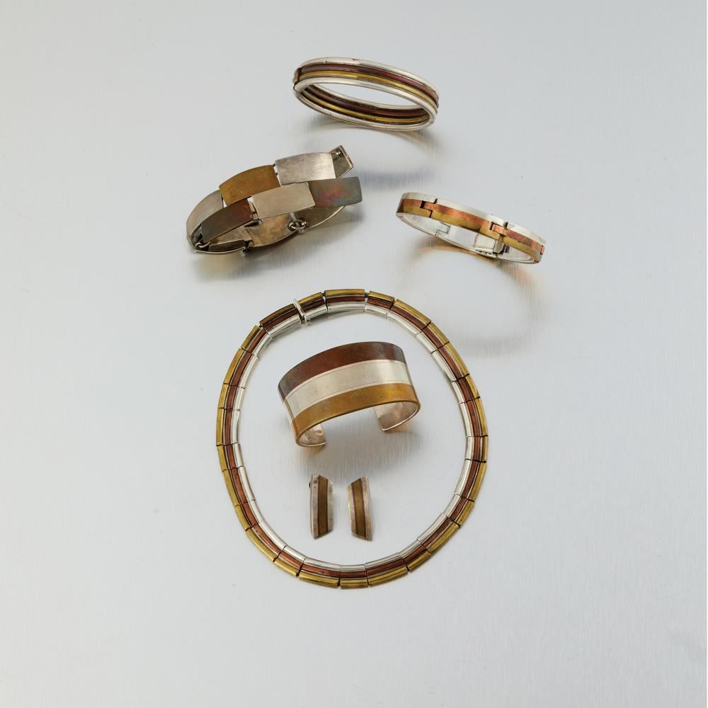 A group of Los Castillo mixed-metal jewelry