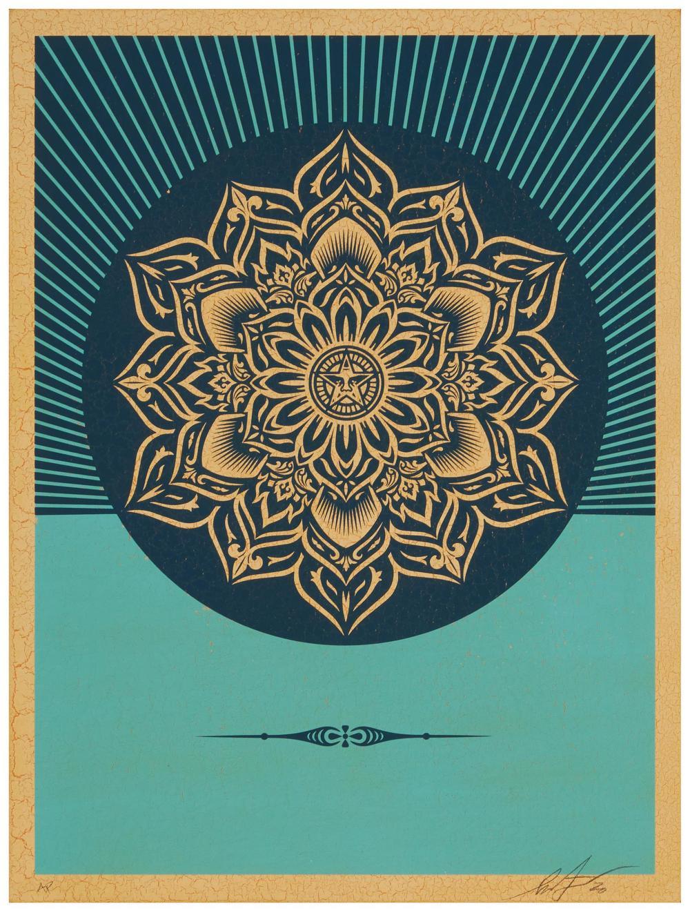 "Shepard Fairey, (b. 1970, American), OBEY Burrard Mandala, 2020, Color screenprint on wood panel, 24"" H x 18"" W"