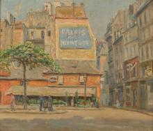 Charles Chapel Judson, (1864 - 1946 Carmel, CA), Parisian street scene with figures, Oil on masonite, 13' H x 15' W