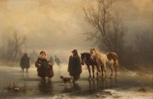 "Heinrich Hofer, (1825 - 1878 German), Figures, horses and dog on a frozen pond, Oil on panel, 12"" H x 18"" W"
