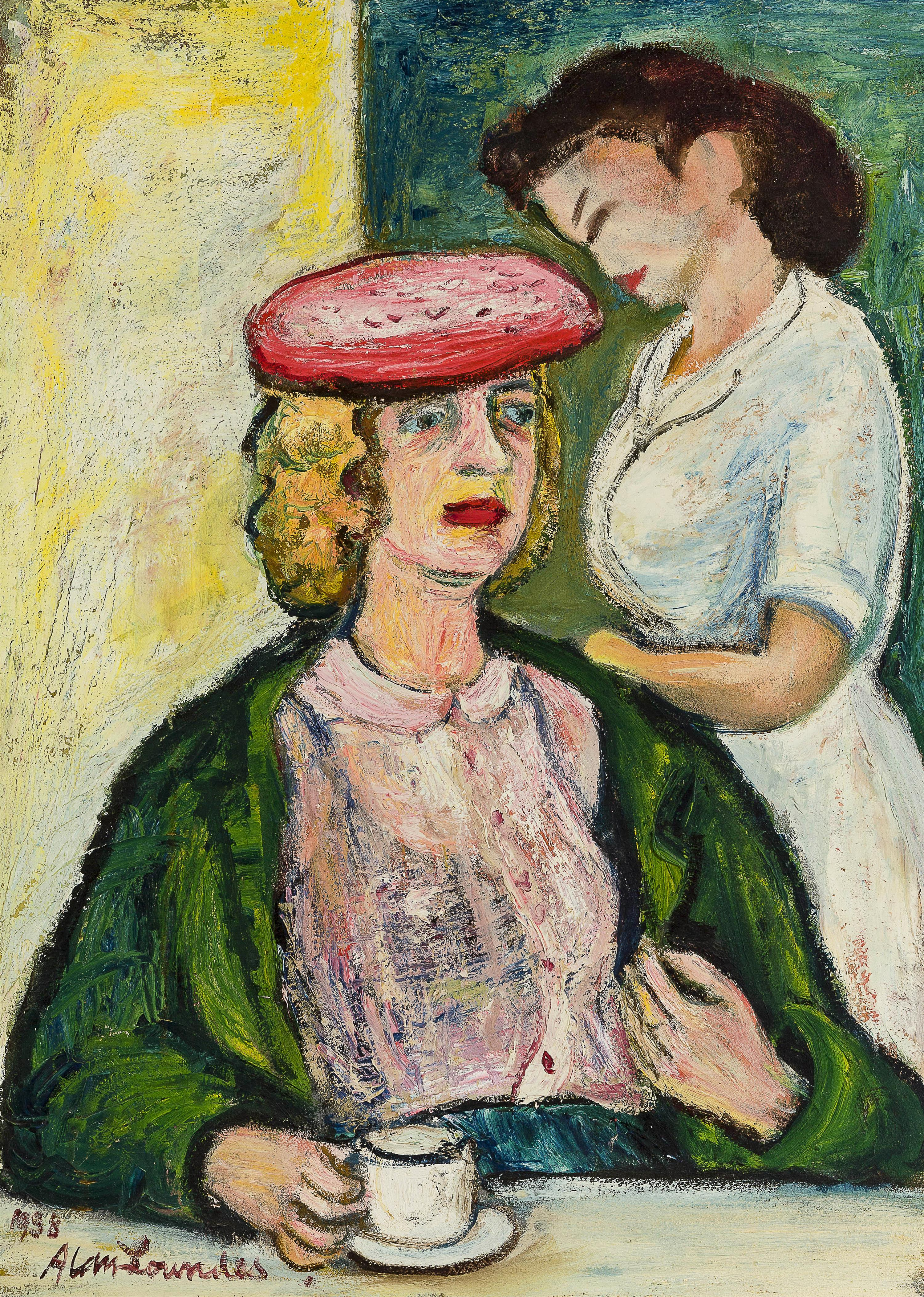 """Alan Lowndes, (1921-1978 British), Woman in hat at the counter, 1958, Oil on canvas, 30"""" H x 22"""" W"""