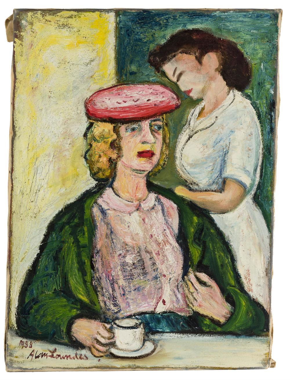 Alan Lowndes, (1921-1978 British), Woman in hat at the counter, 1958, Oil on canvas, 30