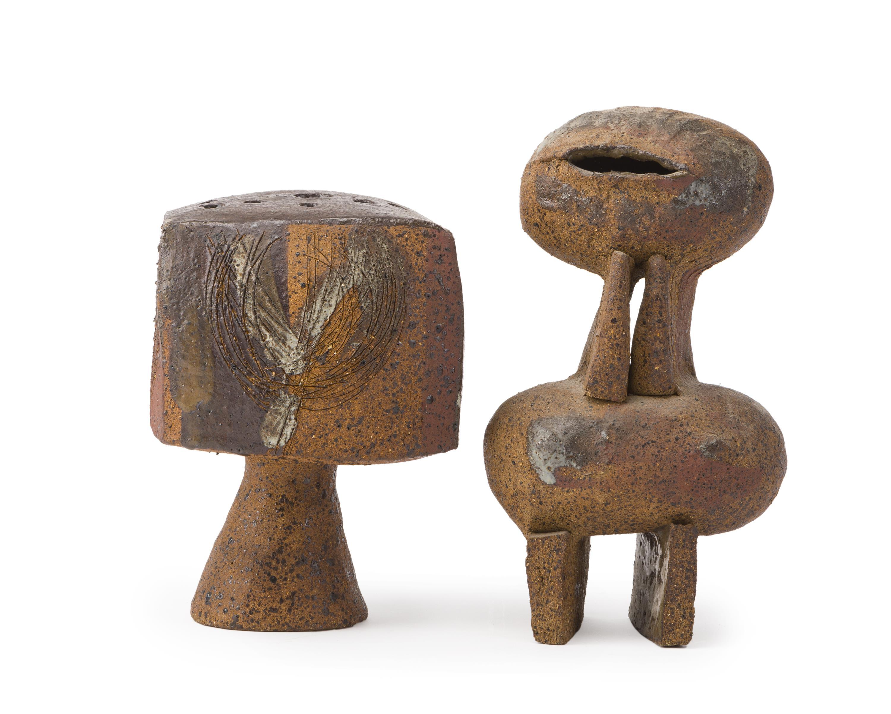 """Betty Feves, (1918-1985 American), Two works, bud vase and stylized clay figure, Glazed ceramic, Larger: 13.5"""" H x 7"""" W x 5"""" D"""