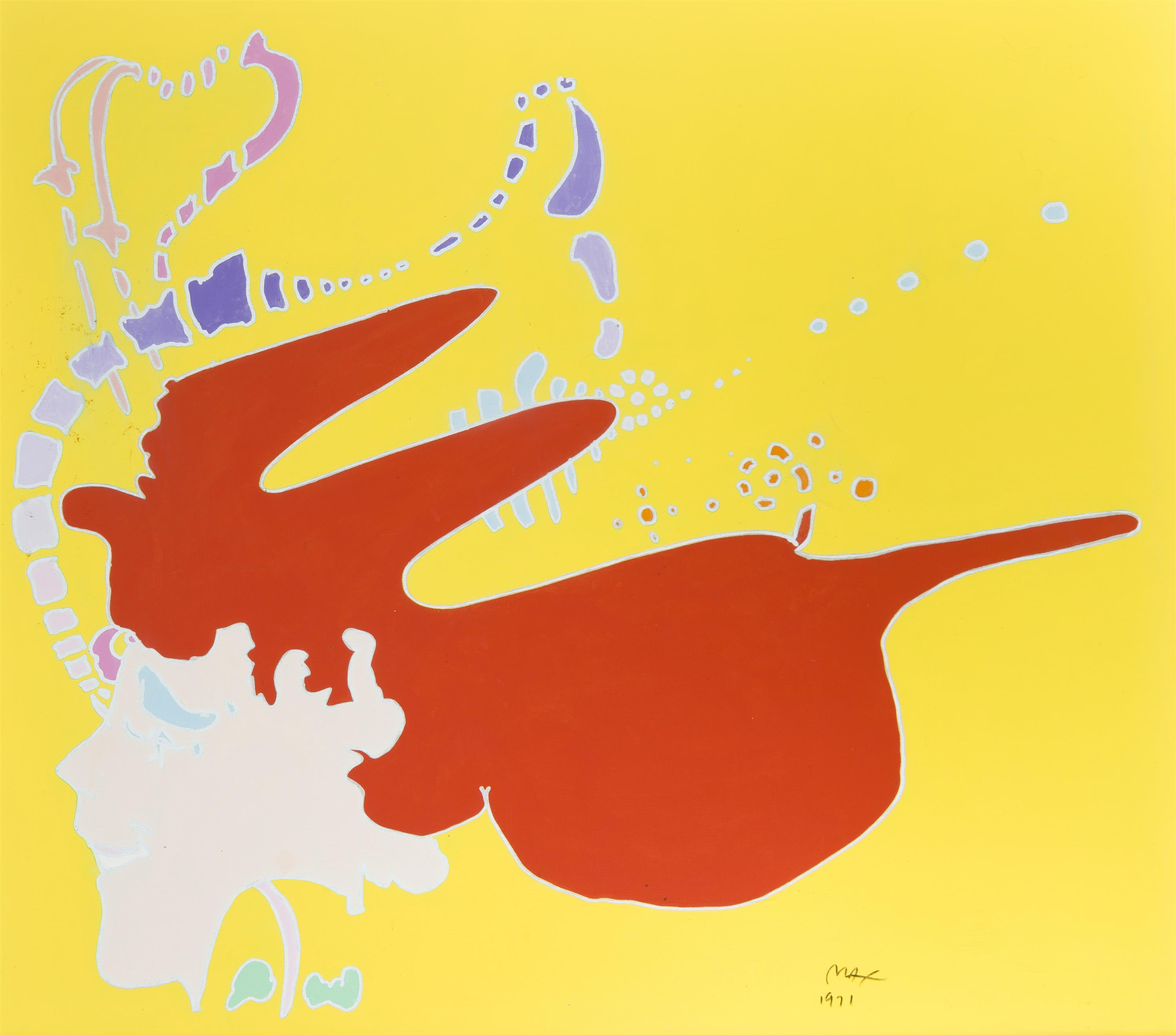 """Peter Max, (b. 1937 New York, NY), Red head girl, 1971, Acrylic on canvas, 34"""" H x 38"""" W"""