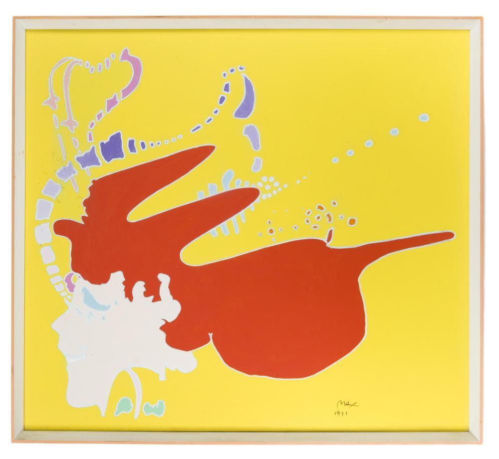 Peter Max, (b. 1937 New York, NY), Red head girl, 1971, Acrylic on canvas, 34