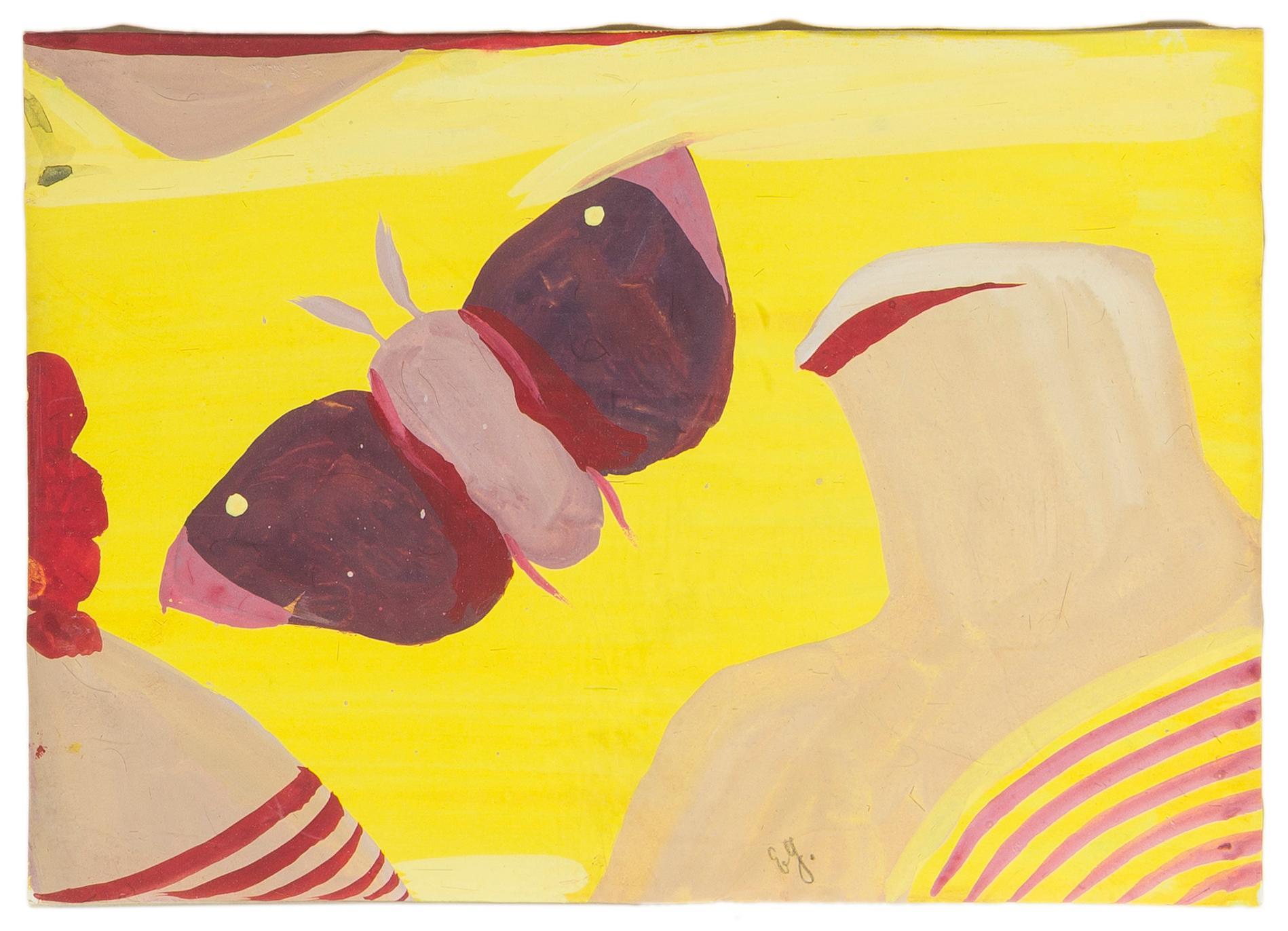 "Eugène Gabritschevsky, (1892-1980 Russian), Untitled (Butterfly), Gouache on paper under Plexiglas, Sheet: 8"" H x 11.5"" W"