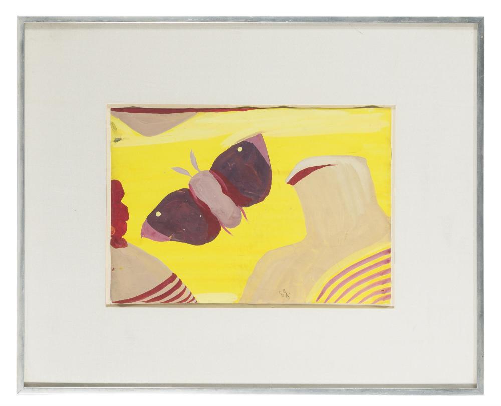 Eugène Gabritschevsky, (1892-1980 Russian), Untitled (Butterfly), Gouache on paper under Plexiglas, Sheet: 8
