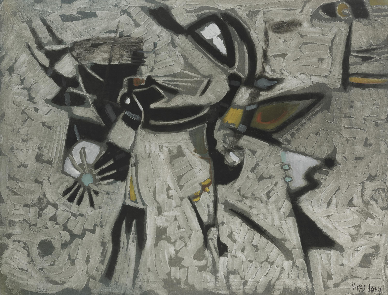 "Nikos Kessanlis, (1930-2004 Greek), ""Composizione No. 40,"" 1957, Oil on canvas, 33"" H x 43"" W"