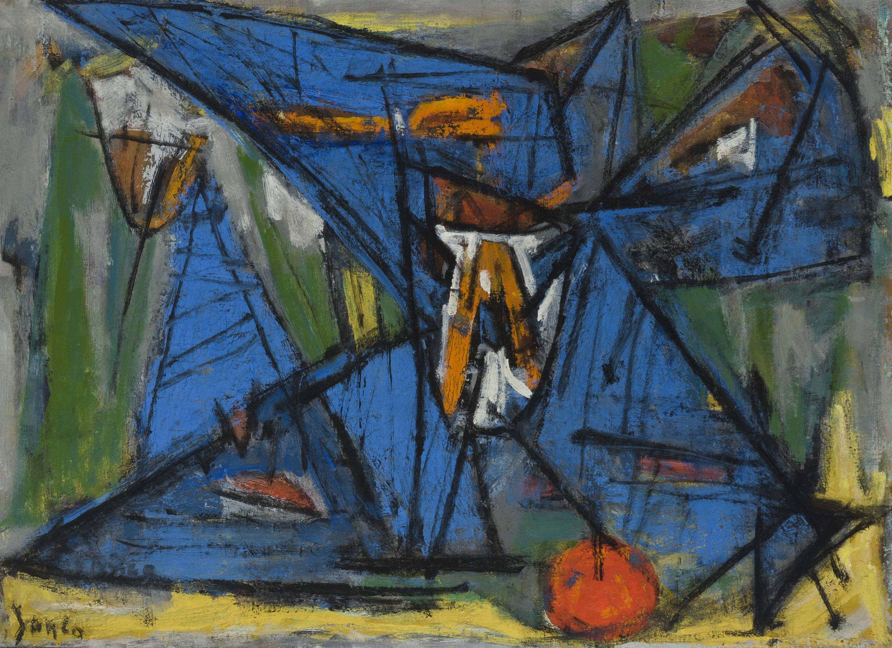 """Marcel Janco, (1895-1984 Israeli), Abstract still life with apple, Oil on canvas, 21.5"""" H x 28.75"""" W"""