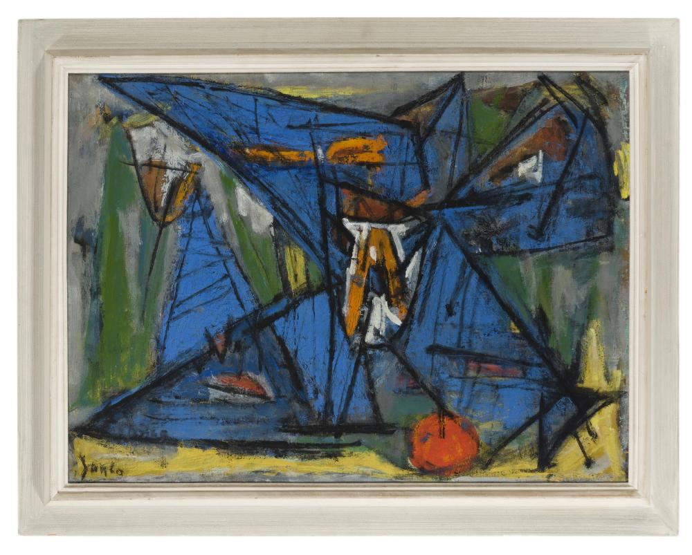 Marcel Janco, (1895-1984 Israeli), Abstract still life with apple, Oil on canvas, 21.5