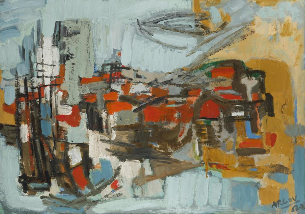 """Michael Argov, (1920-1982 Israeli), Untitled (abstract composition), 1957, Oil on canvas, 25.75"""" H x 36"""" W"""