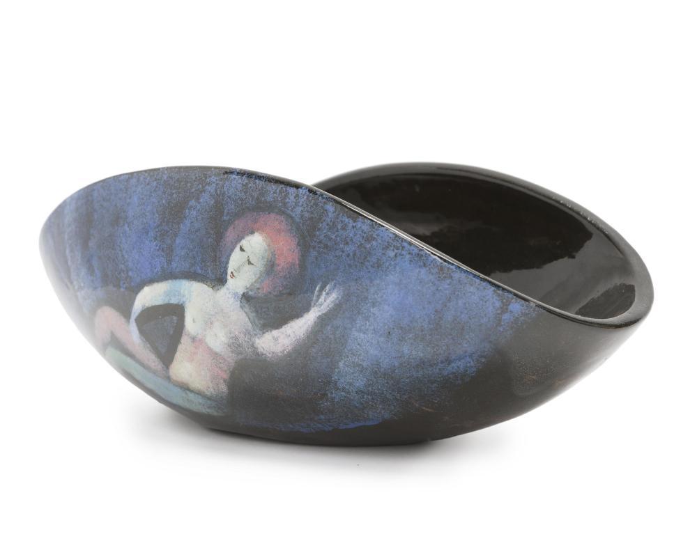"""Polia Pillin, (1909-1992 Los Angeles, CA), Folded bowl with stylized figures, Polychrome-glazed ceramic, 4.25"""" H x 11.25"""" W x 6"""" D"""