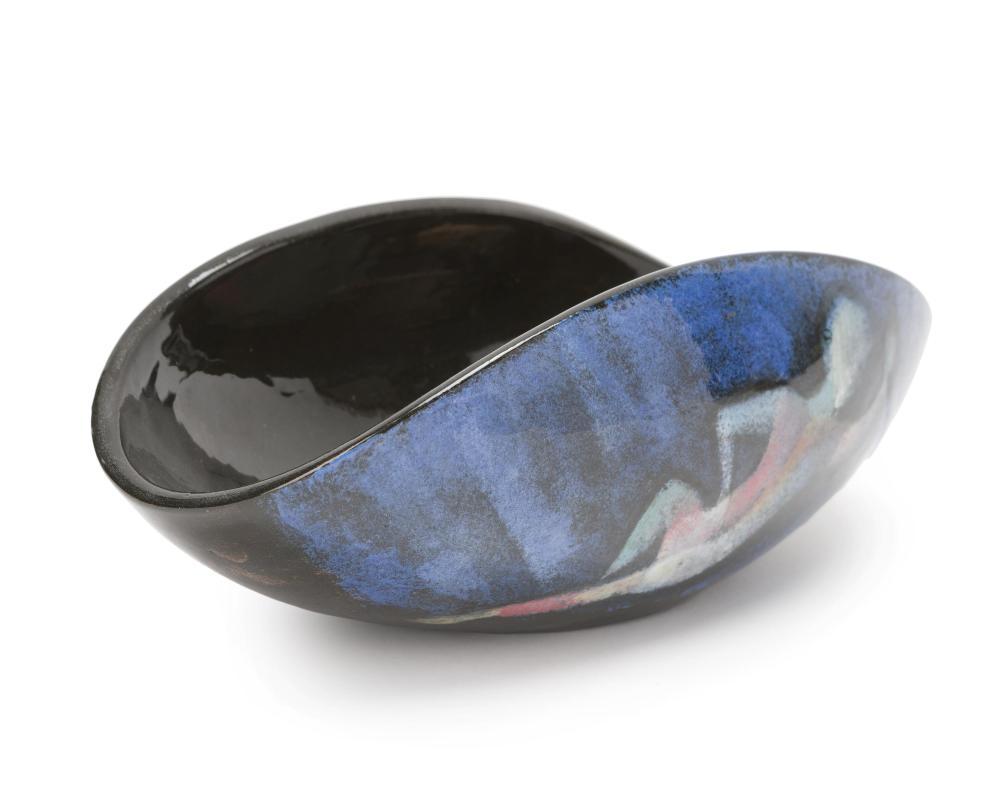 Polia Pillin, (1909-1992 Los Angeles, CA), Folded bowl with stylized figures, Polychrome-glazed ceramic, 4.25