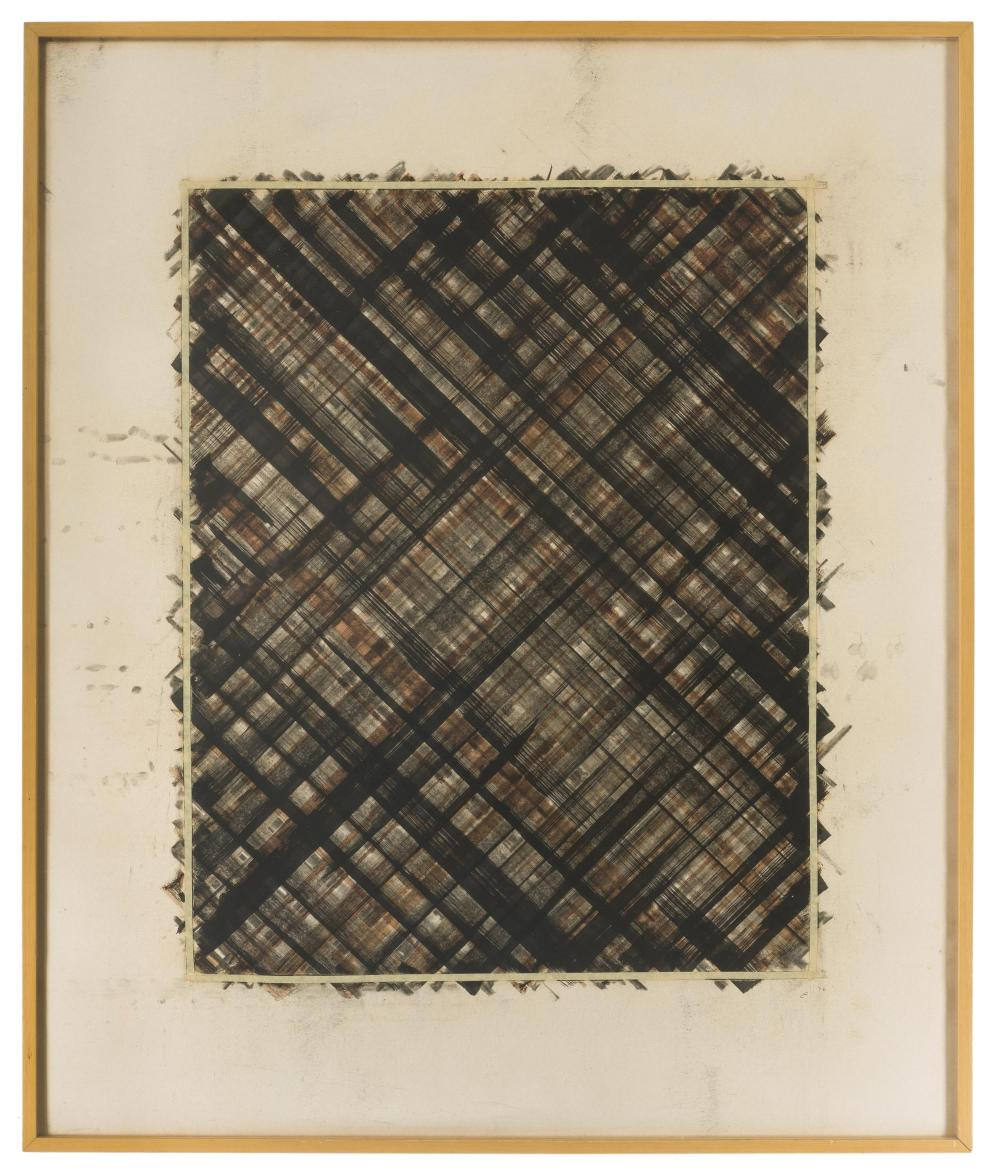 Ed Moses, (1926-2018 American), Untitled (vertical drawing), 1976, Charcoal, graphite, masking tape and pastel on paper backed with lin