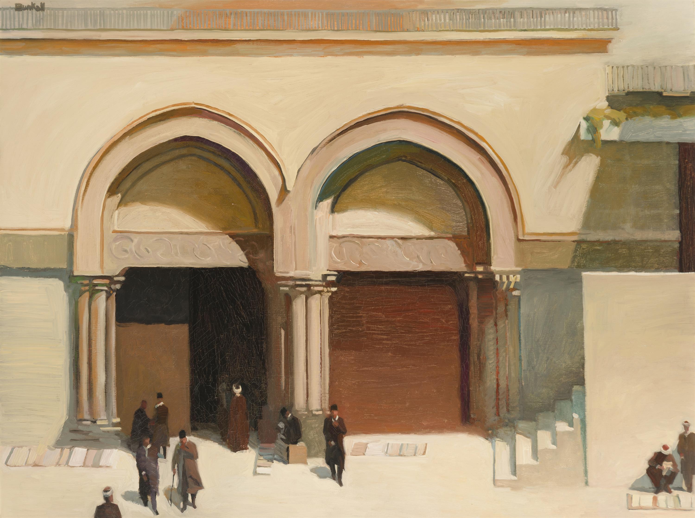"Richard Bunkall, (1953-1999 Pasadena, CA), Figures outside a mosque, Oil on canvas, 30"" H x 40"" W"