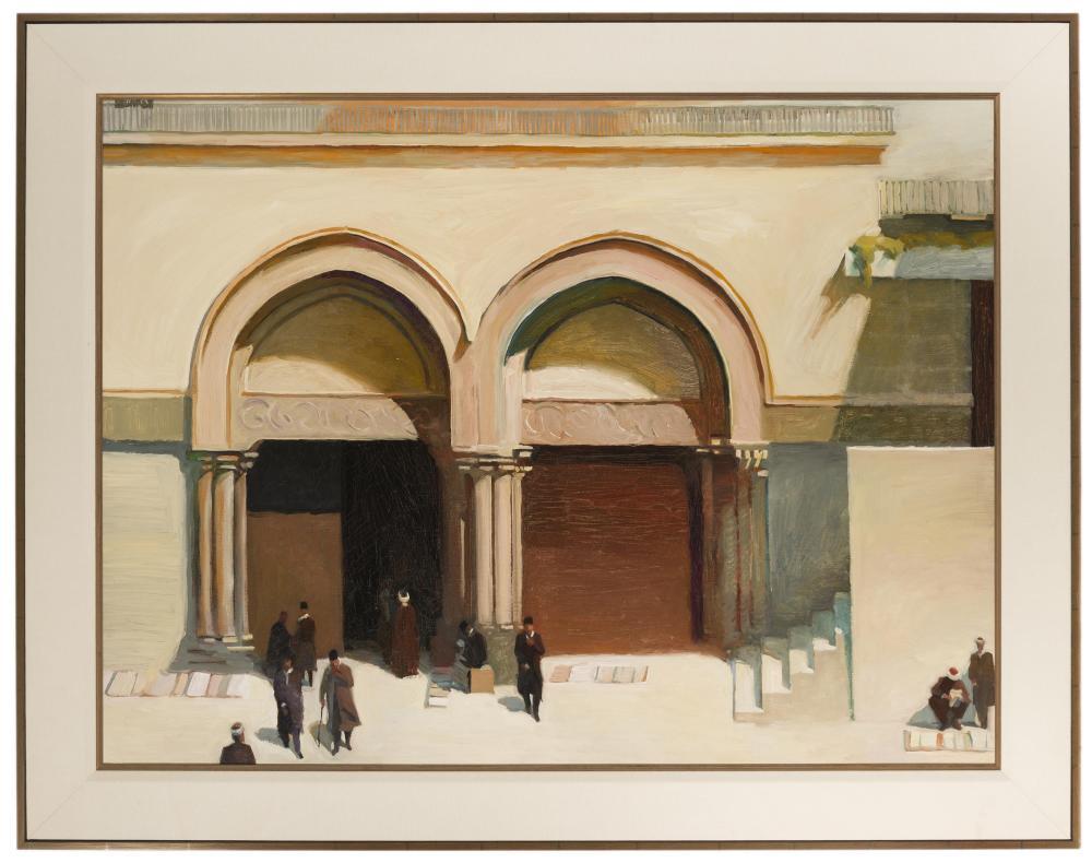 Richard Bunkall, (1953-1999 Pasadena, CA), Figures outside a mosque, Oil on canvas, 30