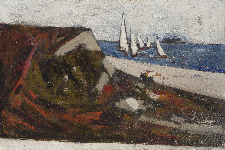 "Viola Frey, (1933-2004 Oakland, CA), Coastal with sailboats, Oil on canvas, 24.5"" H x 36"" W"