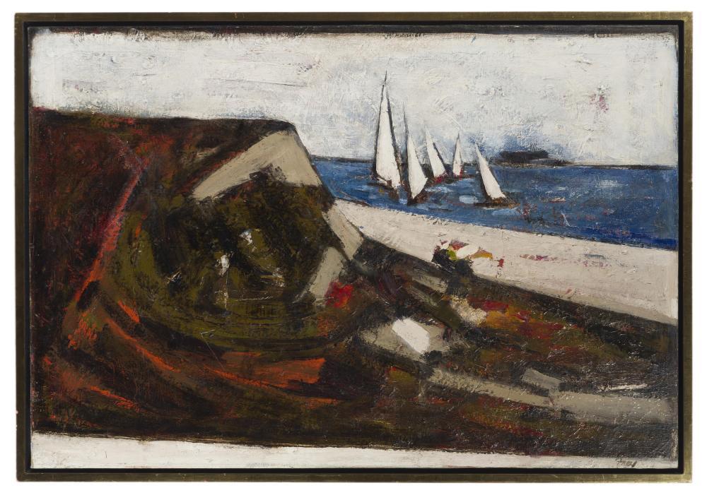 Viola Frey, (1933-2004 Oakland, CA), Coastal with sailboats, Oil on canvas, 24.5