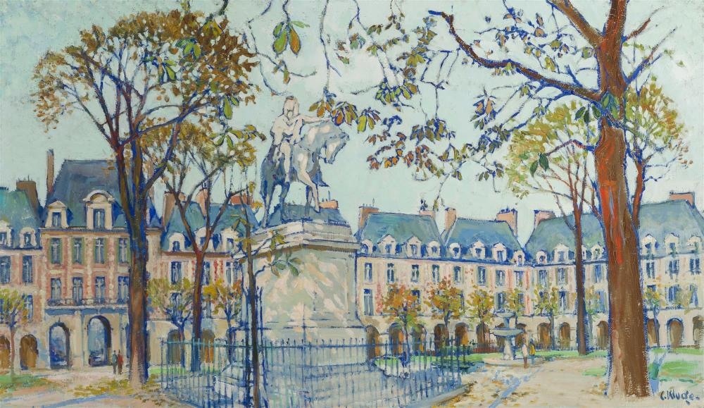"Constantine Kluge, (1912-2003 French), Parisian street scene, Oil on canvas, 45"" H x 77"" W"