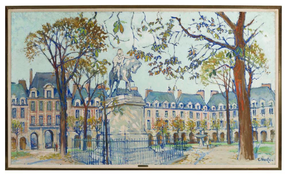 Constantine Kluge, (1912-2003 French), Parisian street scene, Oil on canvas, 45