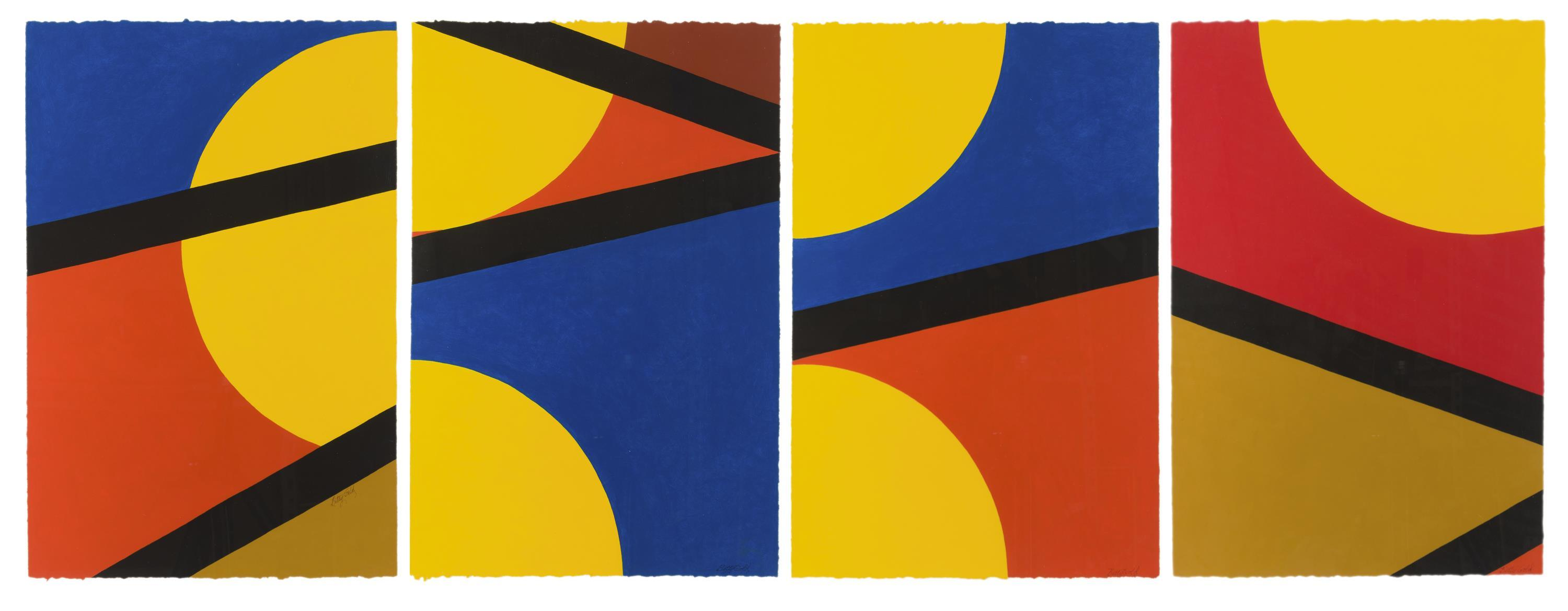 """Betty Gold, (b. 1935 California), Triangle deconstruction (four works), Acrylic on Arches paper under Plexiglas, Sheet of each: 22.5"""" H"""
