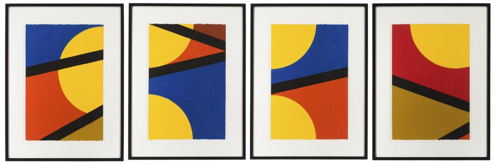 Betty Gold, (b. 1935 California), Triangle deconstruction (four works), Acrylic on Arches paper under Plexiglas, Sheet of each: 22.5