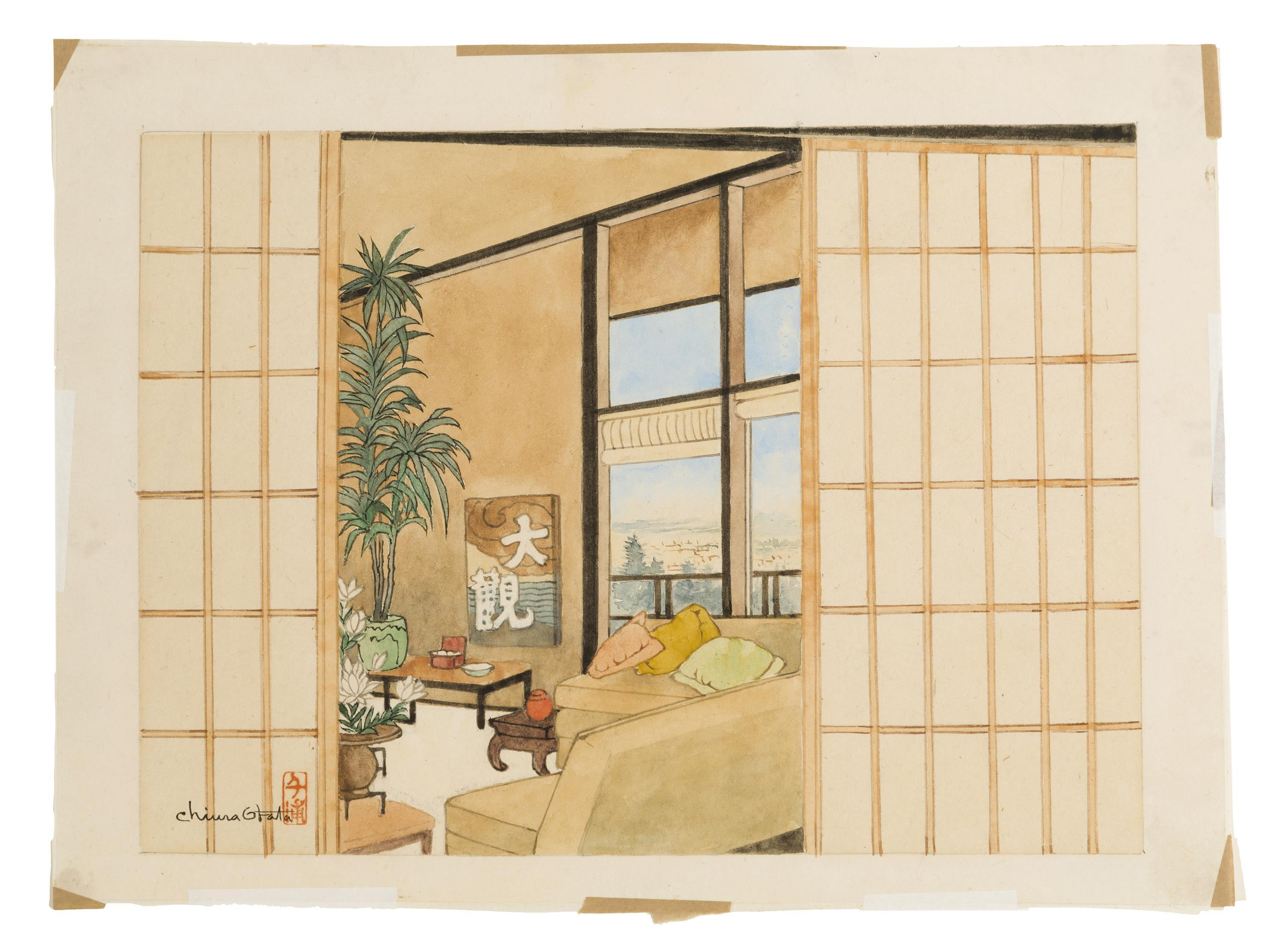 "Chiura Obata, (1885-1975 Japanese/American), Interior of a Japanese-style house, Watercolor and pencil on paper, Image: 9"" H x 12.5"" W"