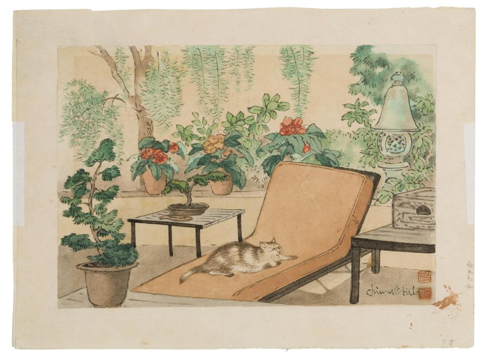 "Chiura Obata, (1885-1975 Japanese/American), Cat lounging in garden, Watercolor on paper, Image: 5.75"" H x 8.25"" W"