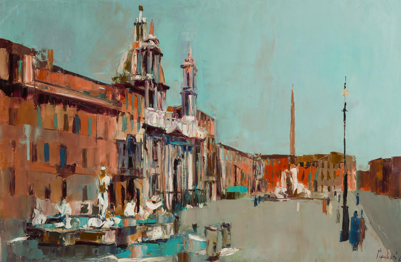 "Nicola Simbari, (1927-2012 Italian), ""Piazza Navona,"" 1961, Oil on canvas, 31.5"" H x 47.5"" W"