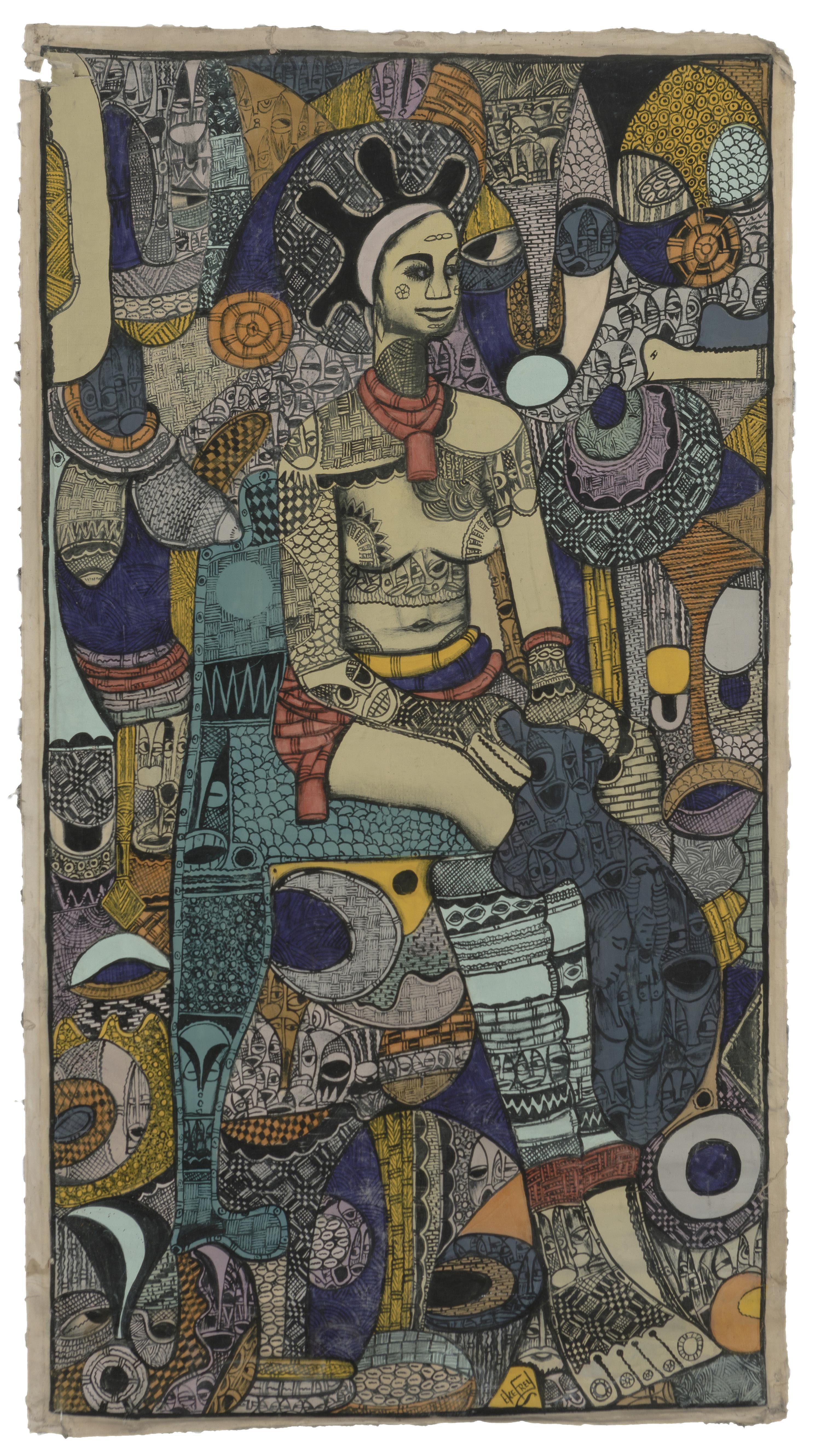 "Emanuel Ekong Ekefrey, (b. 1952 Nigerian), Sitting Nigerian female figure, Mixed media on unstretched canvas, Image: 68"" H x 36.5"" W"