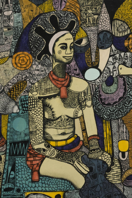 Emanuel Ekong Ekefrey, (b. 1952 Nigerian), Sitting Nigerian female figure, Mixed media on unstretched canvas, Image: 68