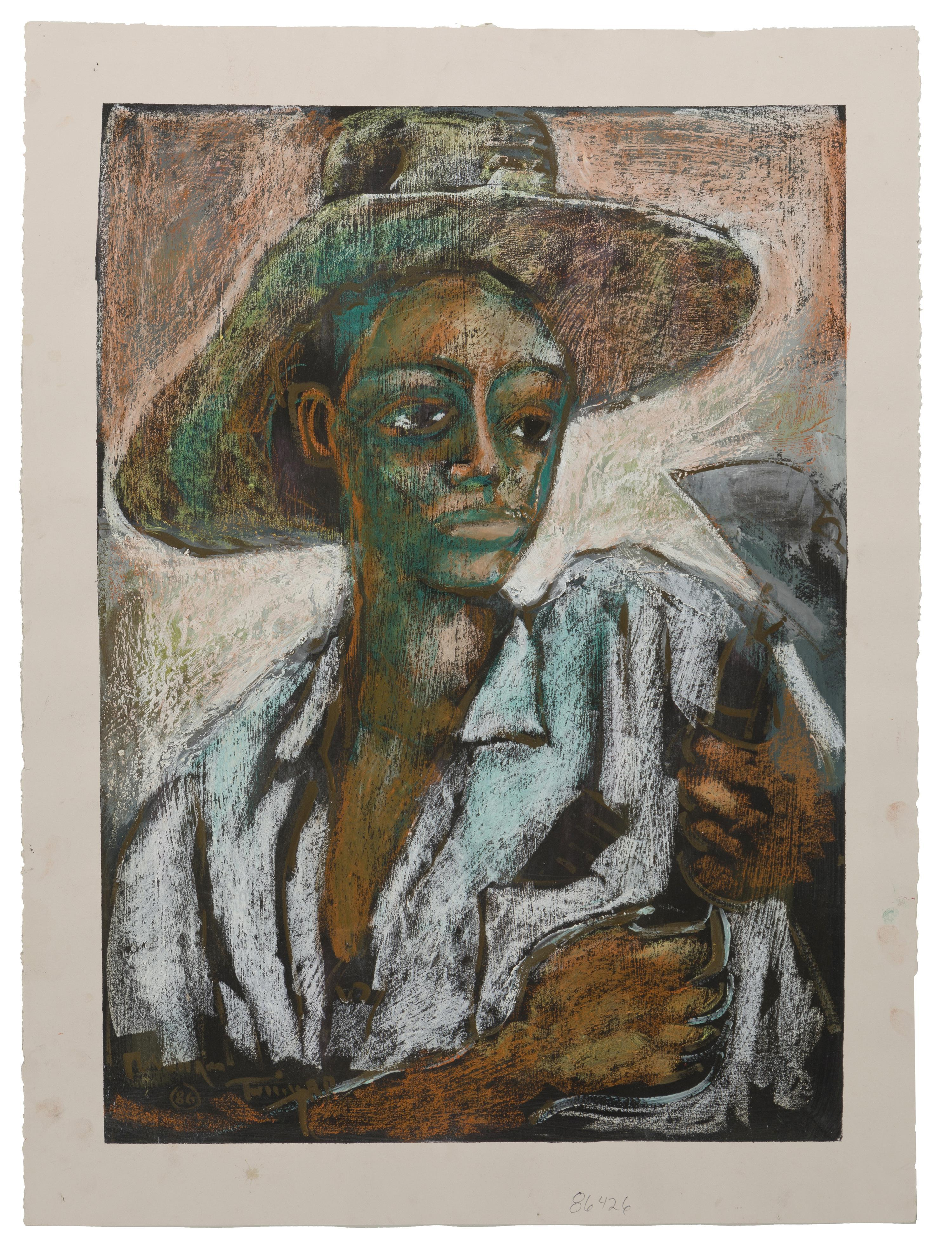 """William Tolliver, (1951-2000 American), Man working in field with hoe, 1986, Mixed media on paper, Image: 26"""" H x 18.5"""" W"""