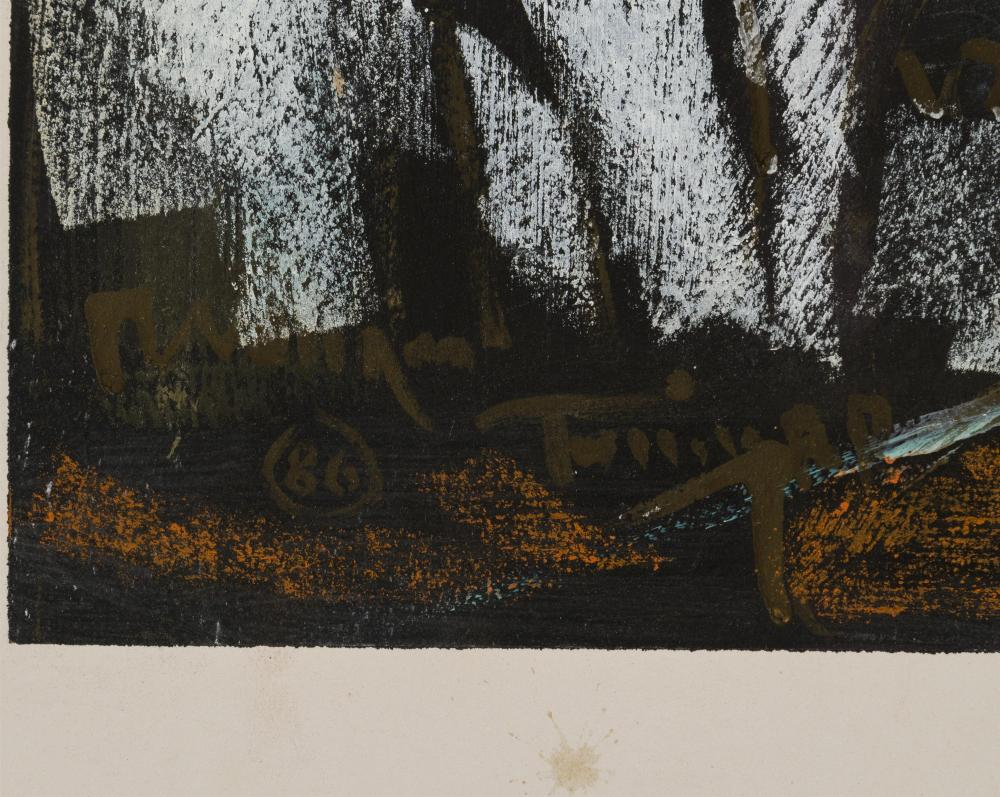 William Tolliver, (1951-2000 American), Man working in field with hoe, 1986, Mixed media on paper, Image: 26