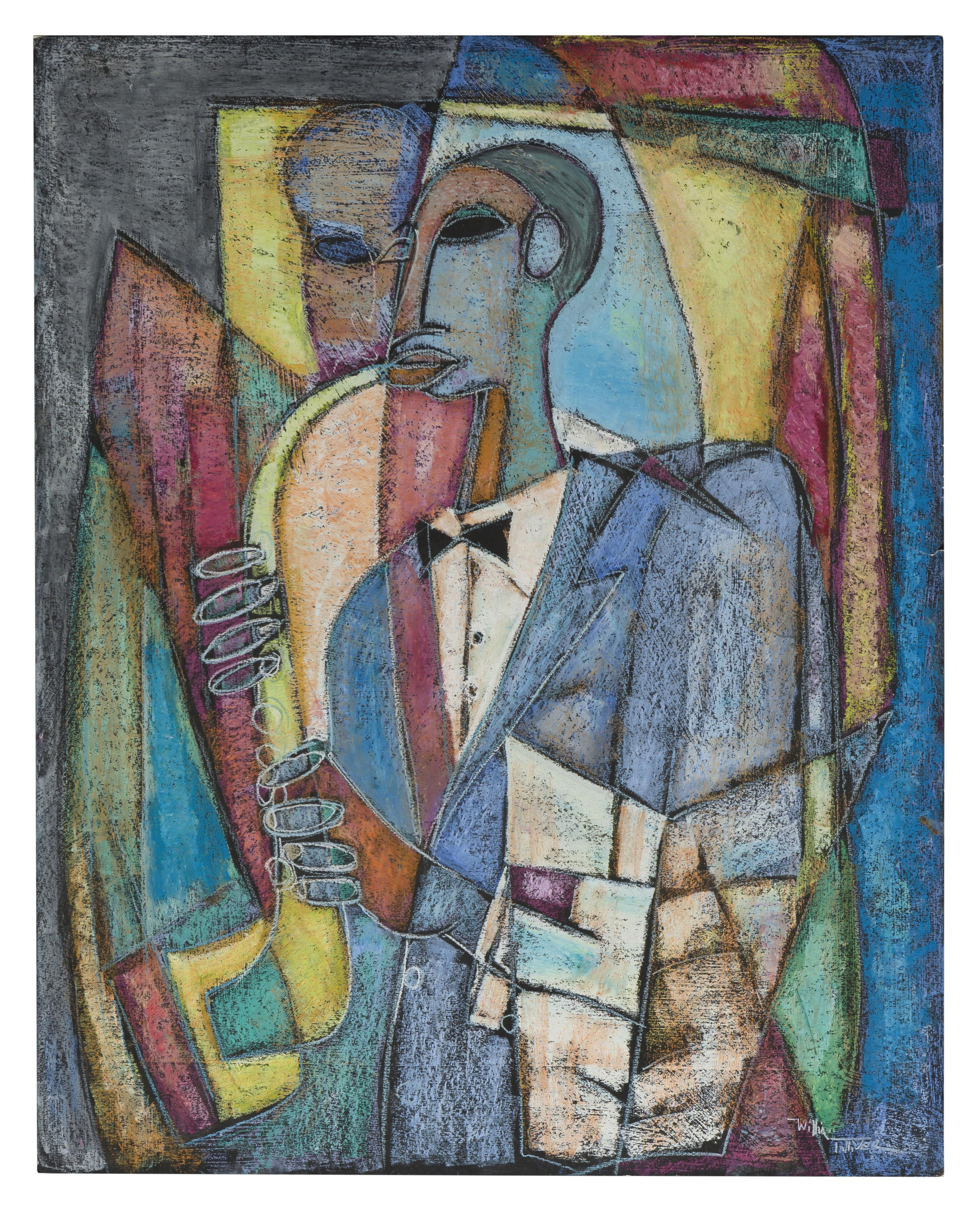 """William Tolliver, (1951-2000 American), Abstract musician, 1988, Oil on board, 16"""" H x 20"""" W"""